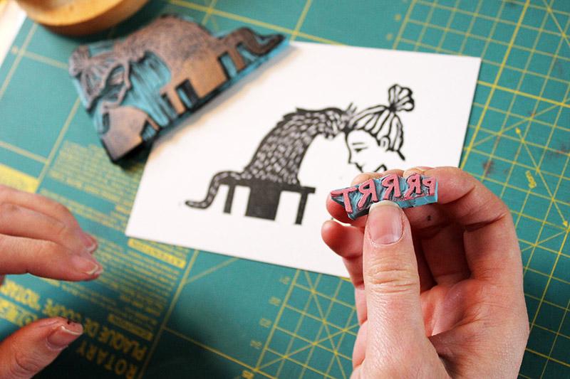 marie maakt linocut cat lady print